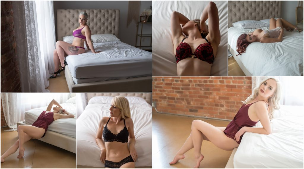 Boudoir photography studio with a bed with headboard.