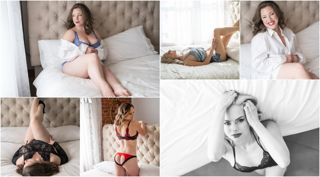 Boudoir posing examples on a bed with headboard.