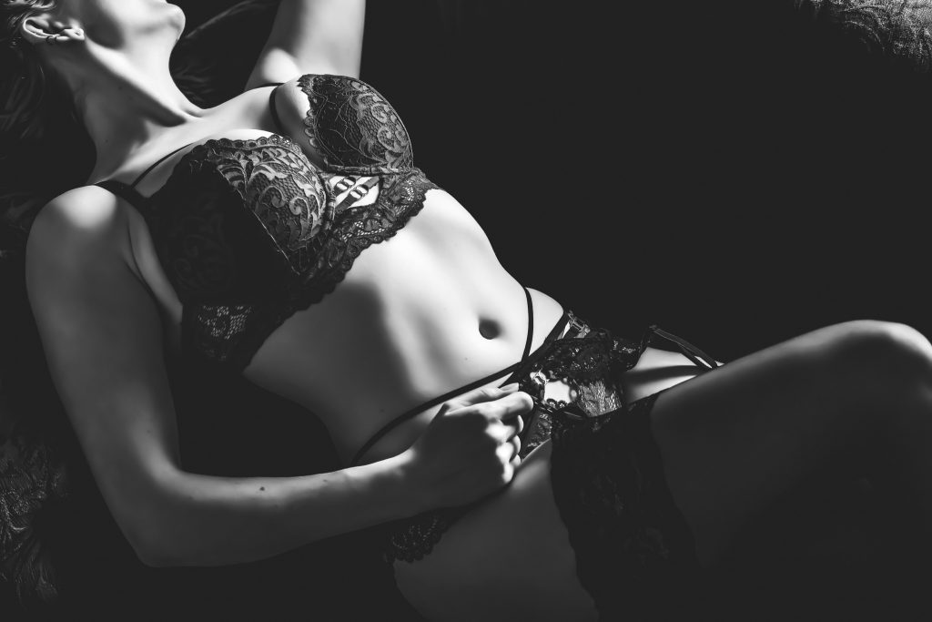 Black and white photo taken at Bella Boudoir.
