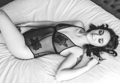 Black and white image from boudoir session at victoria bc studio.