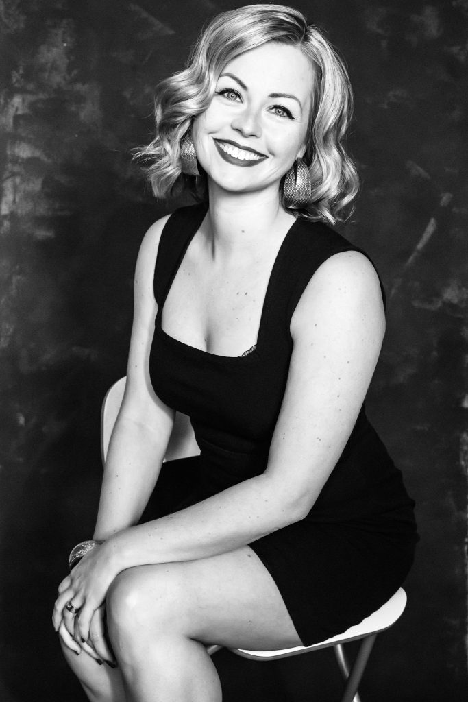 black and white photo of blond woman
