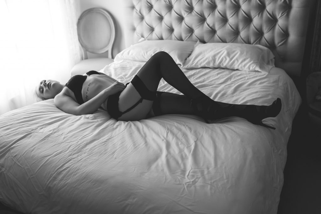 black and white bridal boudoir
